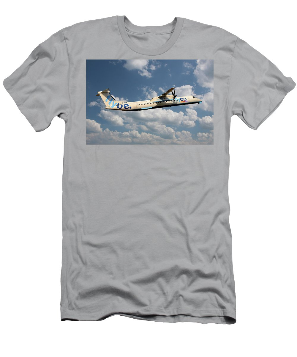 Flybe T-Shirt featuring the photograph Flybe Bombardier Dash 8 Q400 by Smart Aviation