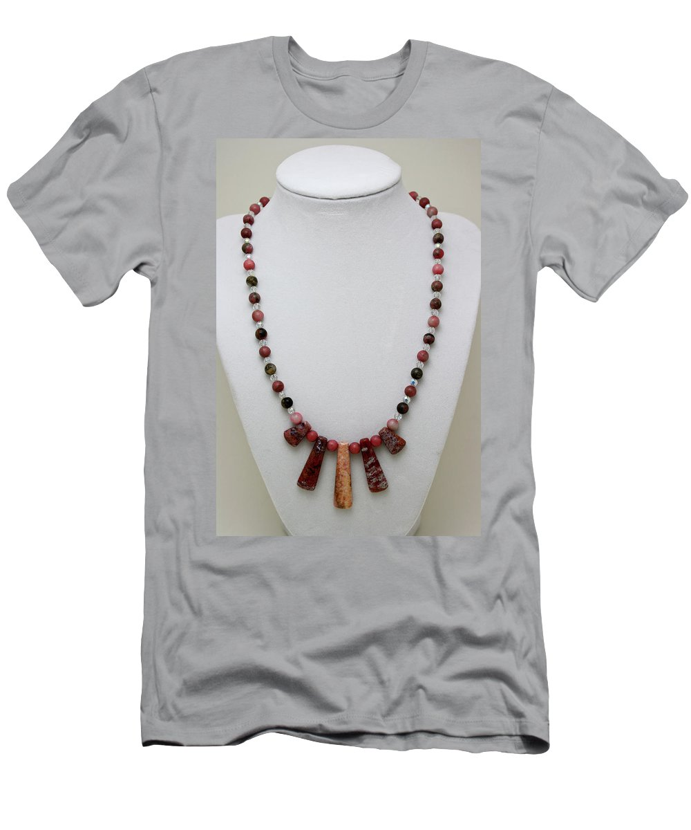 Handmade Men's T-Shirt (Athletic Fit) featuring the jewelry 3541 Rhodonite And Jasper Necklace by Teresa Mucha