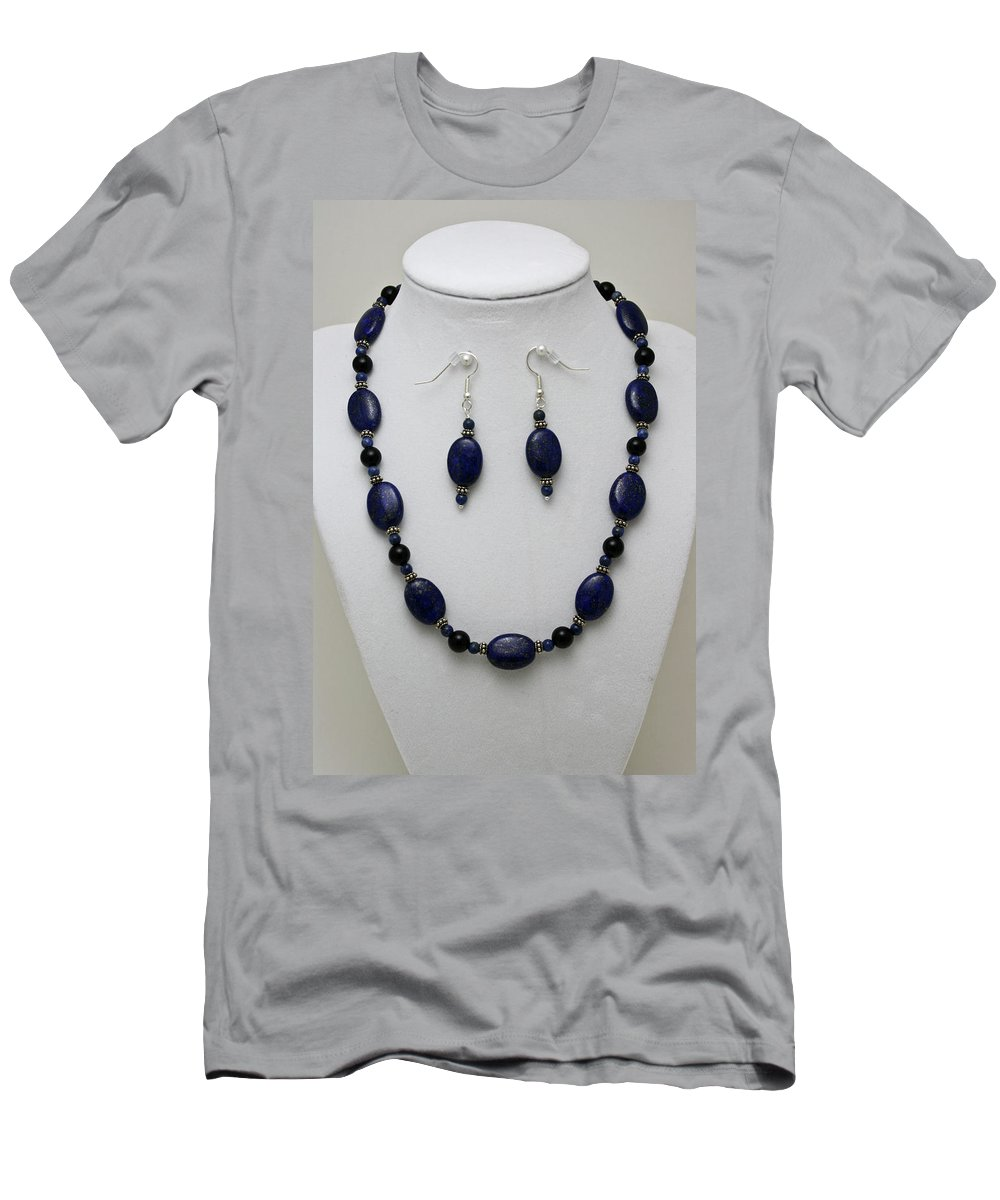 Handmade Men's T-Shirt (Athletic Fit) featuring the jewelry 3555 Lapis Lazuli Necklace And Earring Set by Teresa Mucha
