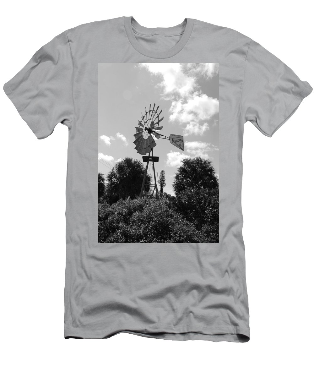 Black And White Men's T-Shirt (Athletic Fit) featuring the photograph Aermotor Windmill by Rob Hans