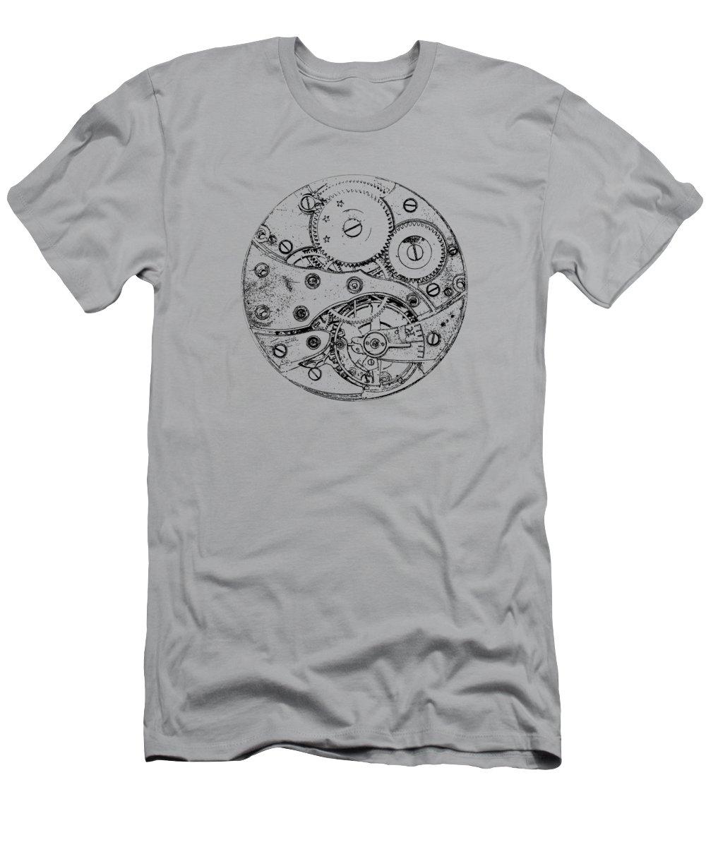Clock T-Shirt featuring the digital art Clockwork Mechanism by Michal Boubin
