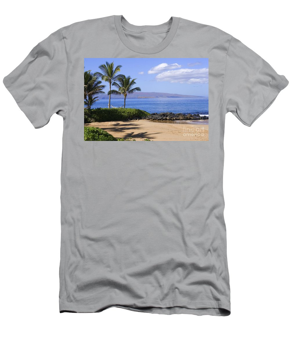 Beach Men's T-Shirt (Athletic Fit) featuring the photograph Makena, Secret Beach by Ron Dahlquist - Printscapes