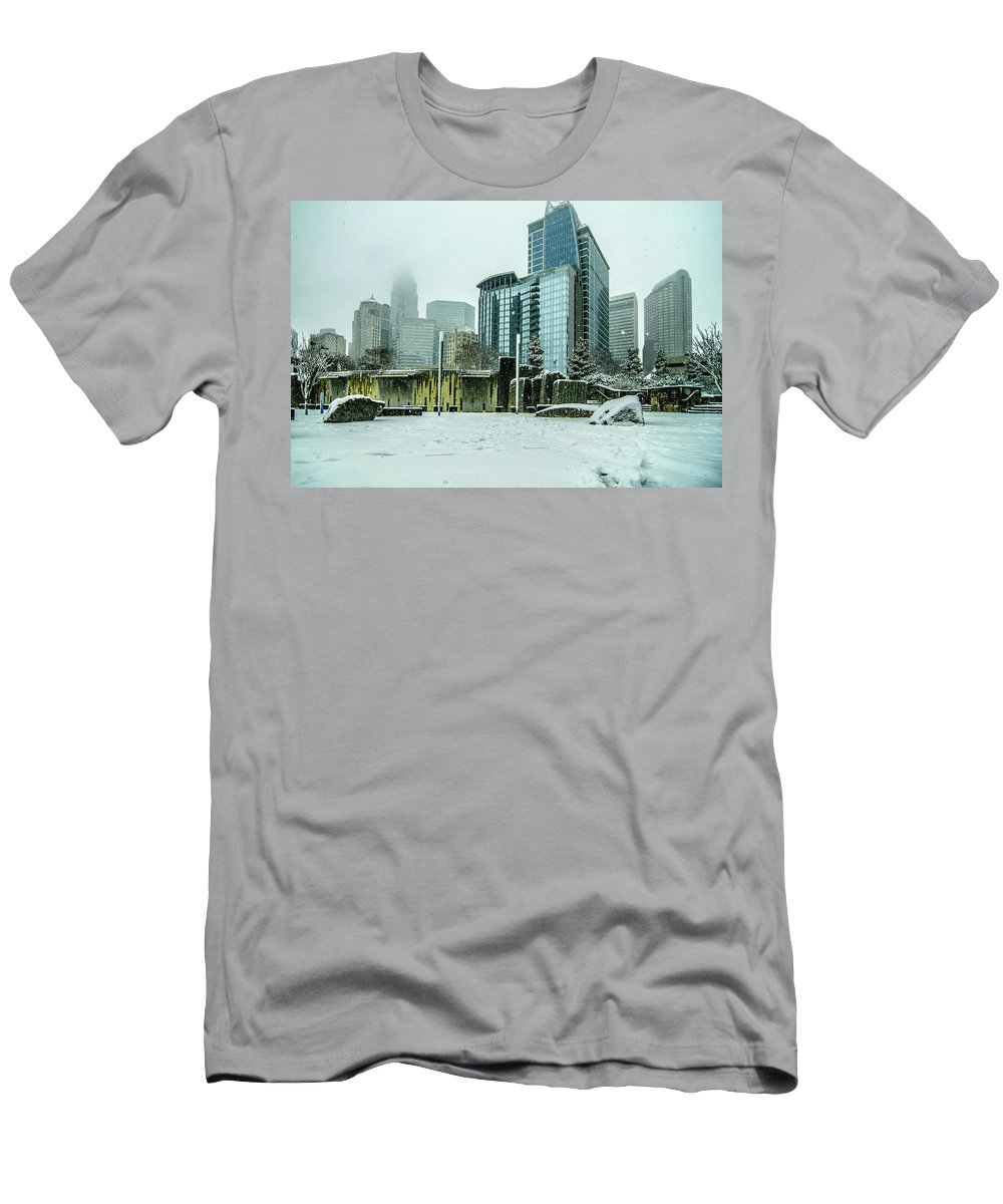Rare Men's T-Shirt (Athletic Fit) featuring the photograph Rare Wintry Mix Around Charlotte City Streets In North Carolina by Alex Grichenko