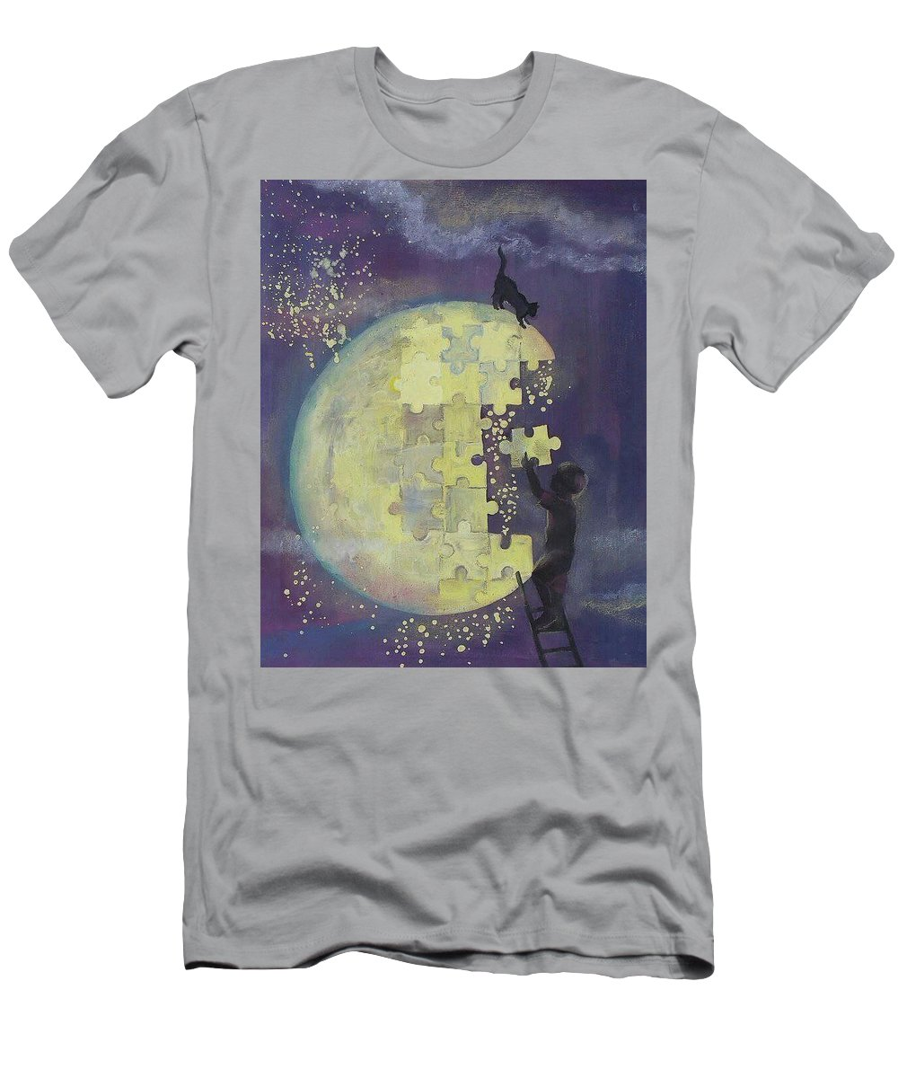 Men's T-Shirt (Athletic Fit) featuring the mixed media Walk To The Moon by Gergana Bojikova