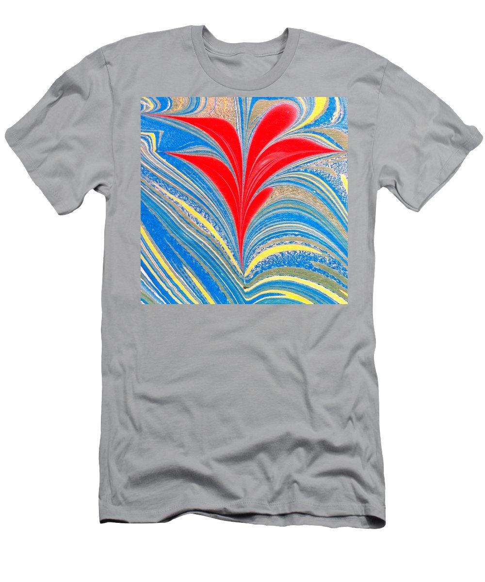 Flower T-Shirt featuring the painting Water Marbling Art, Ebru by Dilan C