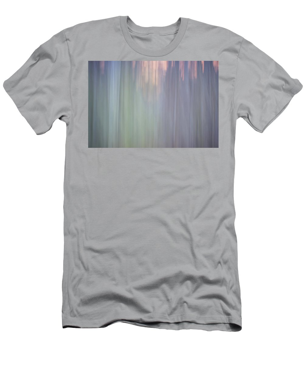 Abstract Men's T-Shirt (Athletic Fit) featuring the photograph Abstract Digital Painting Of A Thick And Heavy Wooded Forest At by Alex Grichenko