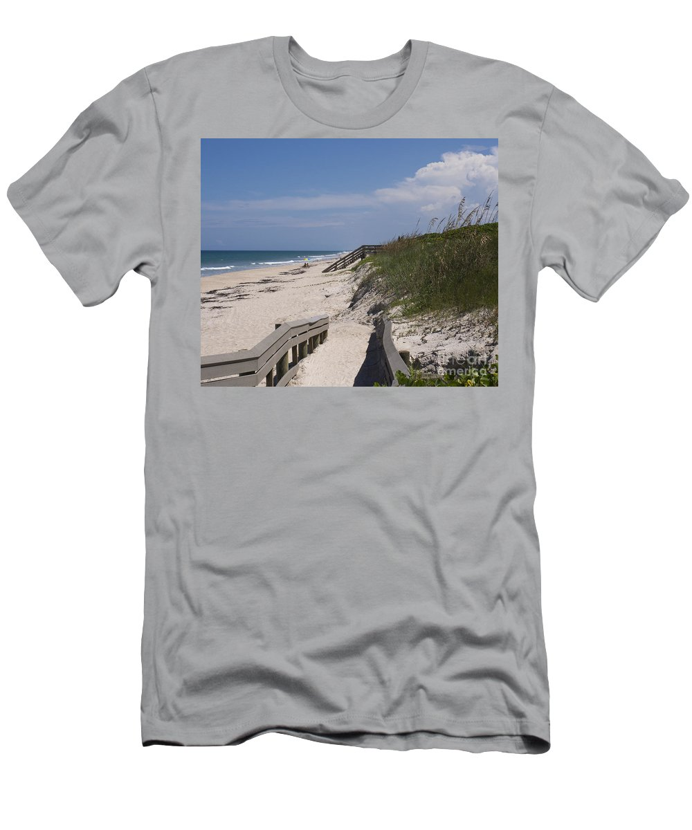 Florida Men's T-Shirt (Athletic Fit) featuring the photograph Brevard County Florida Beaches by Allan Hughes