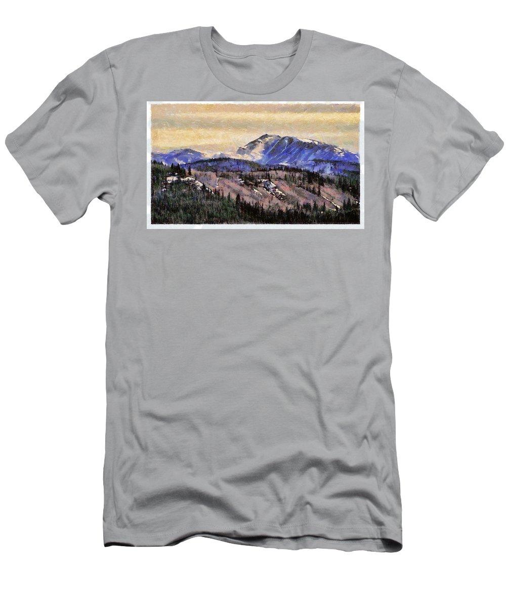 Denali Park Alaska Snow Montain Blue Sky Men's T-Shirt (Athletic Fit) featuring the photograph Denali Park - Alaska by Galeria Trompiz