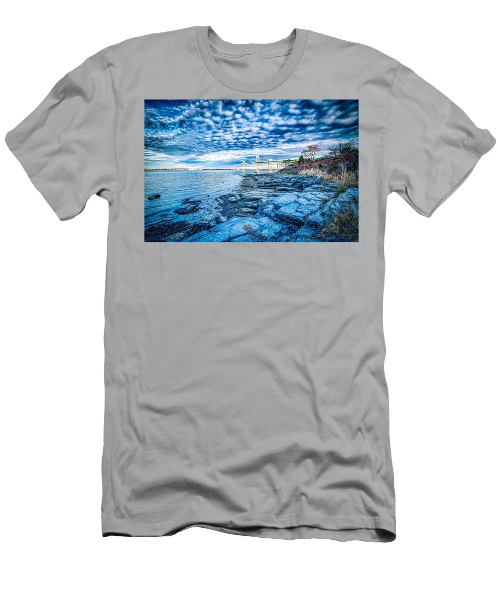 Sunrise Men's T-Shirt (Athletic Fit) featuring the photograph Newport Bridge Connecting Newport And Jamestown At Sunrise by Alex Grichenko