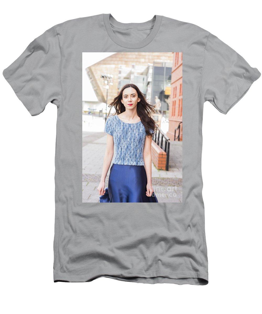Model Lauren Ismail For Revetir Photographed By Jenny Potter Men's T-Shirt (Athletic Fit) featuring the photograph Fashion Shoot by Jenny Potter