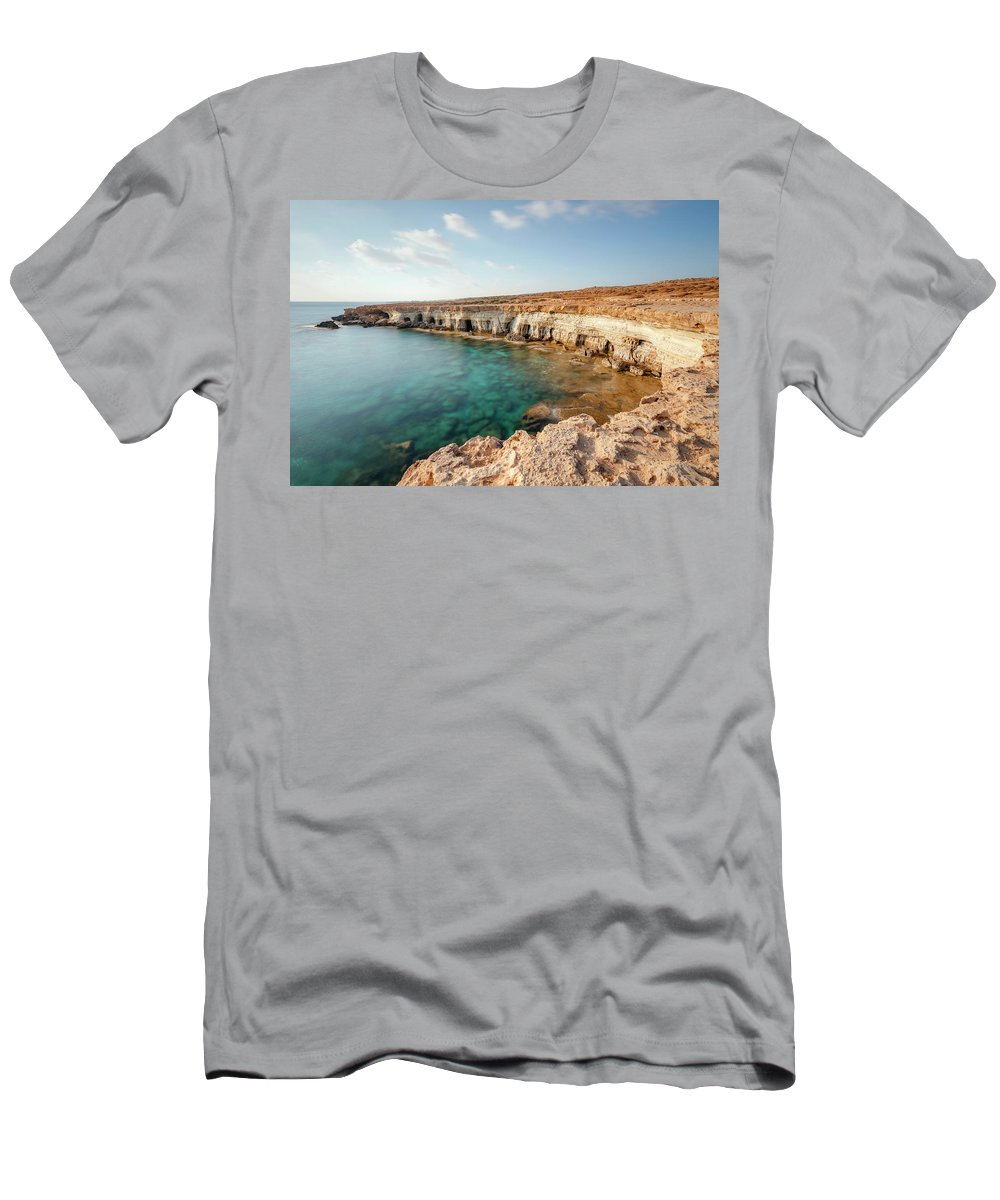 Sea Caves Men's T-Shirt (Athletic Fit) featuring the photograph Sea Caves Ayia Napa - Cyprus by Joana Kruse