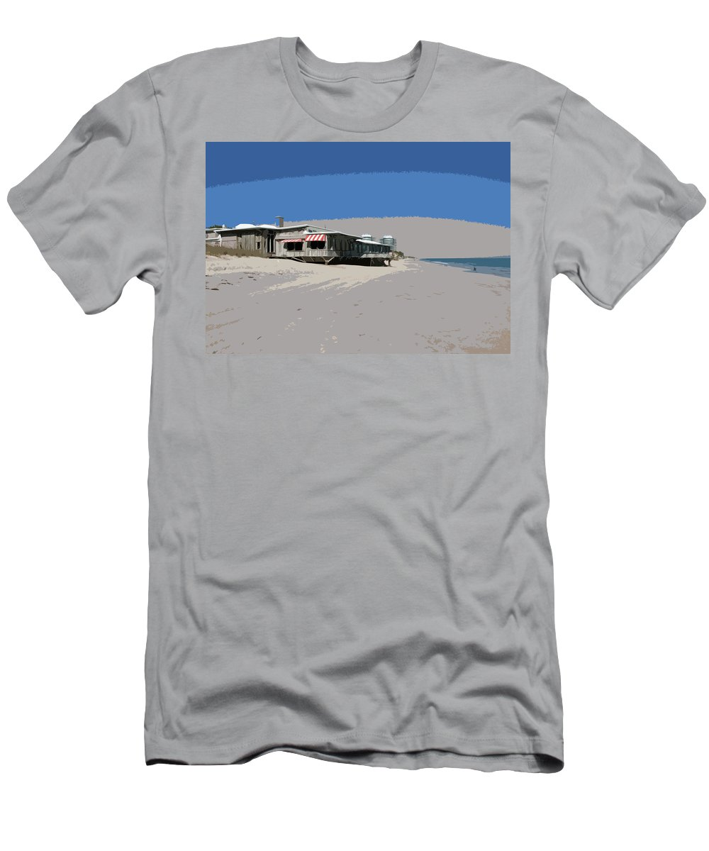 Florida Men's T-Shirt (Athletic Fit) featuring the painting The Ocean Grill At Vero Beach In Florida by Allan Hughes