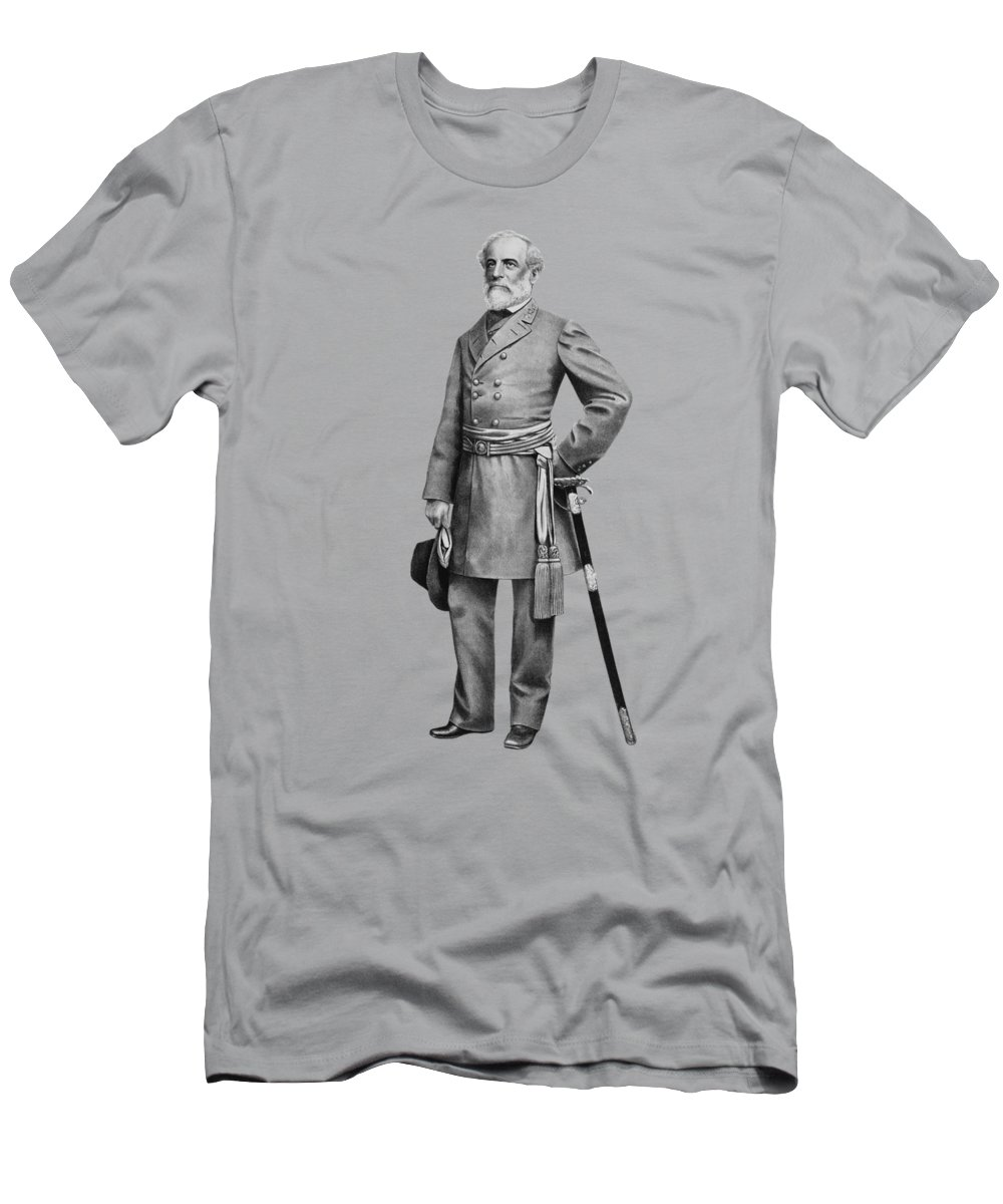 Robert E Lee Men's T-Shirt (Athletic Fit) featuring the mixed media General Robert E Lee by War Is Hell Store