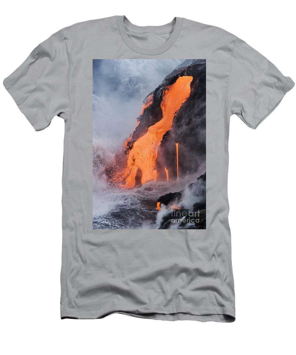 Active Men's T-Shirt (Athletic Fit) featuring the photograph Pahoehoe Lava Flow by Ron Dahlquist - Printscapes