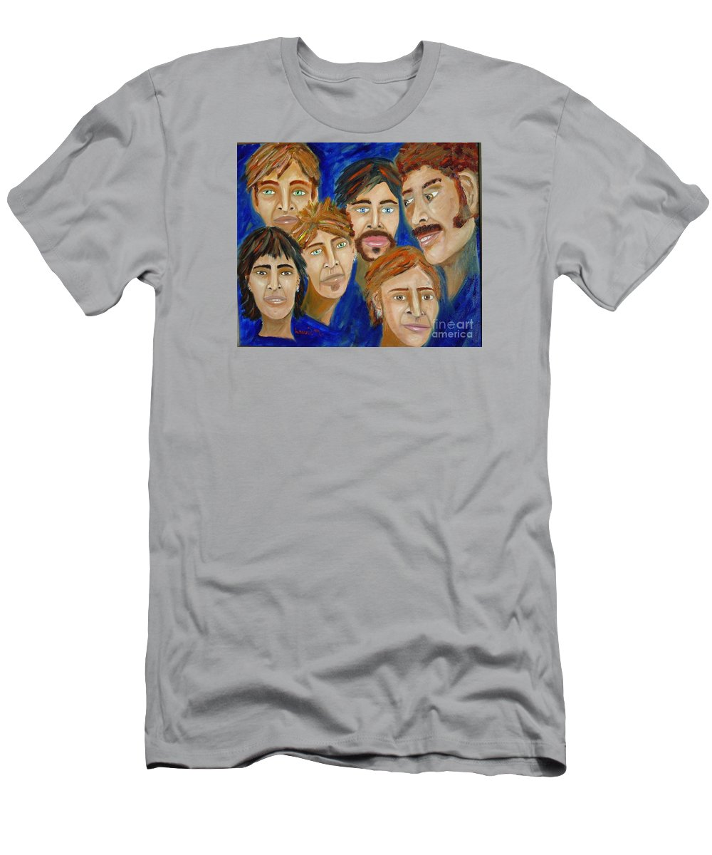 Portrait Men's T-Shirt (Athletic Fit) featuring the painting 70s Band Reunion by Laurie Morgan