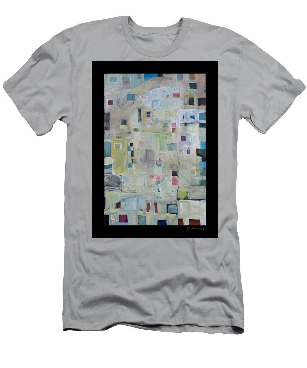 Abstract Men's T-Shirt (Athletic Fit) featuring the painting 7am In The City That Doesn by Tim Nyberg