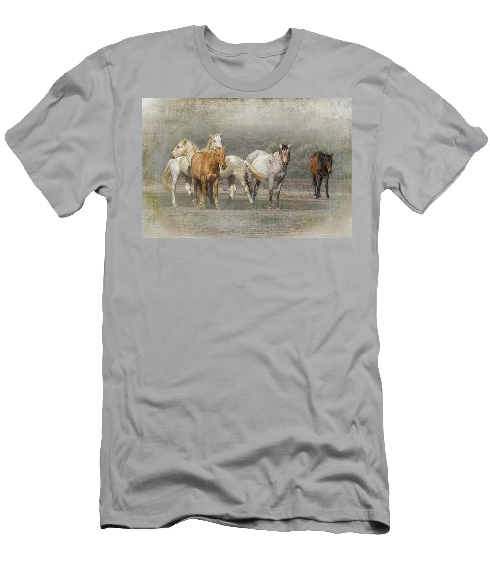 Wild Horses Men's T-Shirt (Athletic Fit) featuring the photograph A Band Of Horses by Belinda Greb