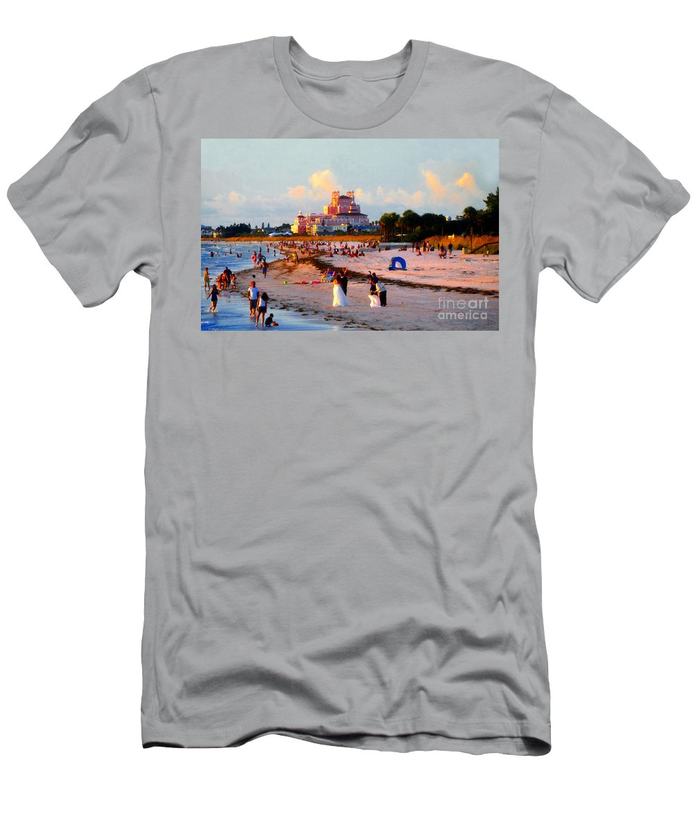 Beach Men's T-Shirt (Athletic Fit) featuring the painting A Beach Scene by David Lee Thompson