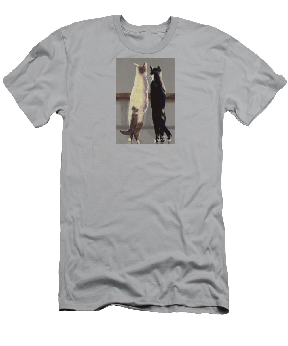 Cat Men's T-Shirt (Athletic Fit) featuring the painting A Bird by Linda Hiller