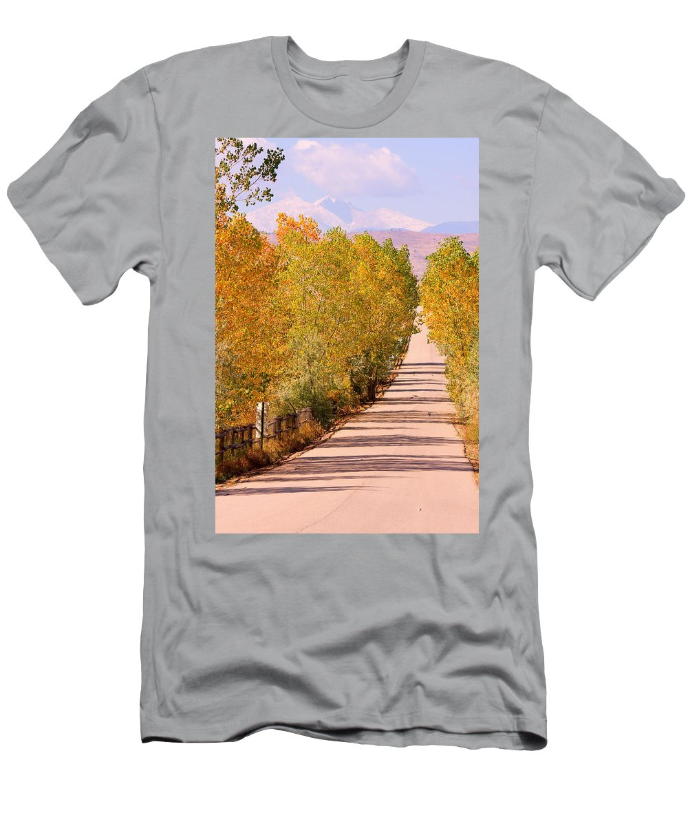 Rockymountains Men's T-Shirt (Athletic Fit) featuring the photograph A Colorful Country Road Rocky Mountain Autumn View by James BO Insogna