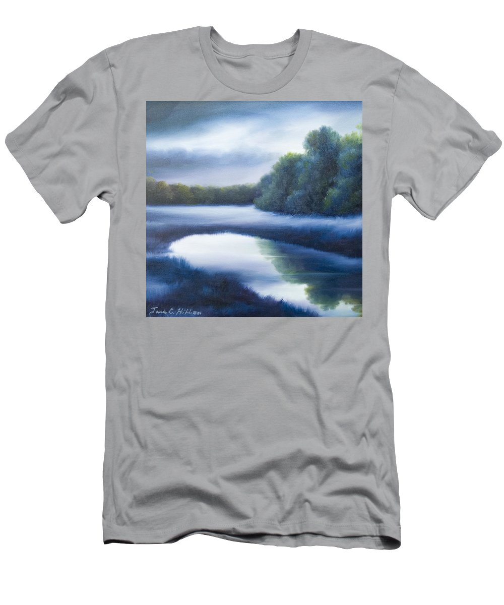 Nature; Lake; Sunset; Sunrise; Serene; Forest; Trees; Water; Ripples; Clearing; Lagoon; James Christopher Hill; Jameshillgallery.com; Foliage; Sky; Realism; Oils; Green; Tree; Blue; Pink; Pond; Lake T-Shirt featuring the painting A Day In The Life 4 by James Christopher Hill