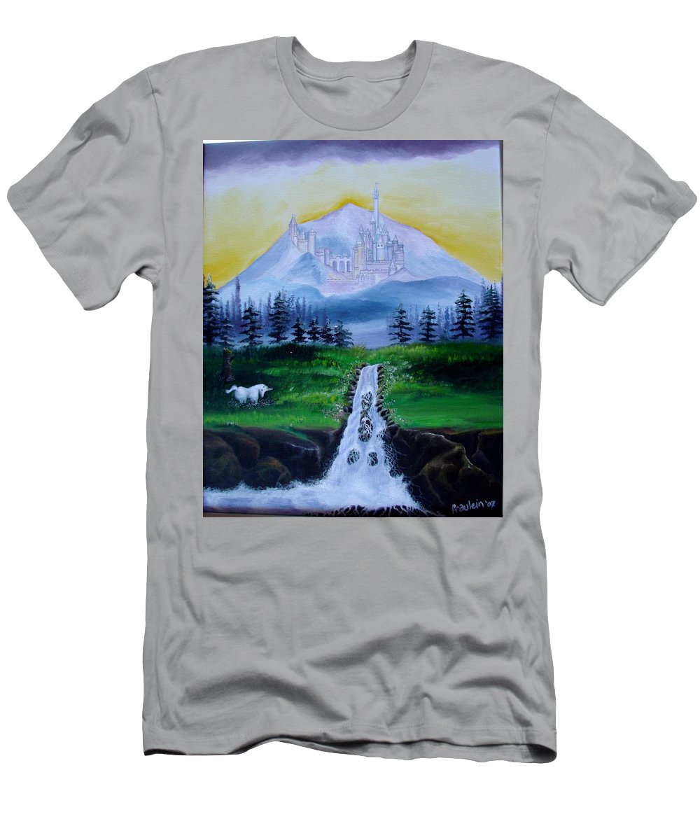 Landscape Men's T-Shirt (Athletic Fit) featuring the painting A Fairytale by Glory Fraulein Wolfe