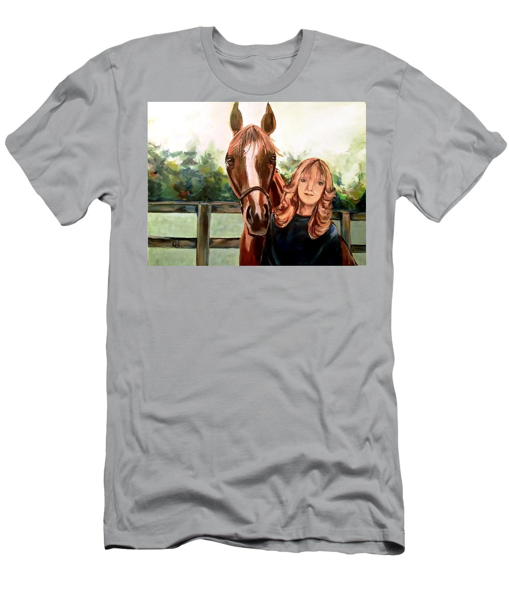 Horse Men's T-Shirt (Athletic Fit) featuring the painting Wide Eyed Girl And Her Horse by Art by Kar