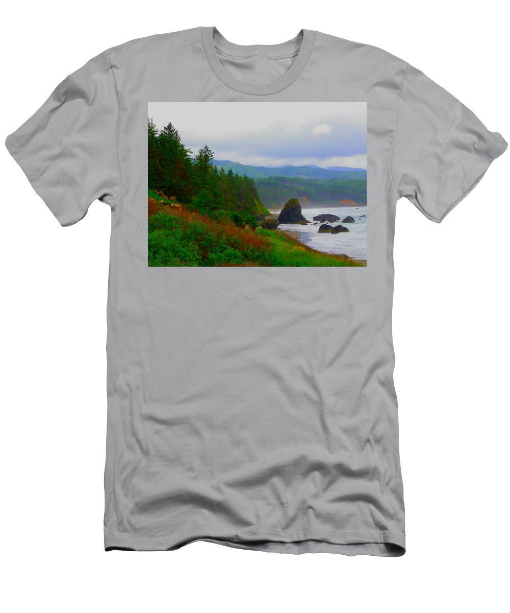 Outside Men's T-Shirt (Athletic Fit) featuring the photograph A Glimpse Of Oregon by Charleen Treasures