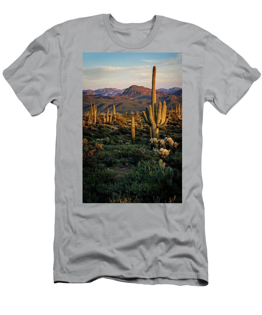 Arizon Men's T-Shirt (Athletic Fit) featuring the photograph A Golden Sonoran Evening by Saija Lehtonen