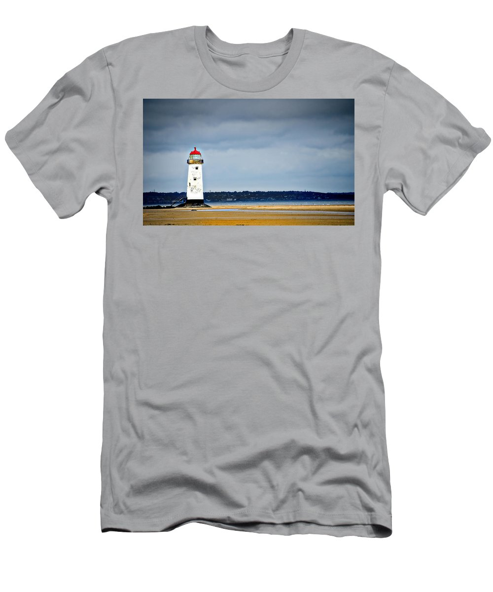 Lighthouse Men's T-Shirt (Athletic Fit) featuring the photograph A Guiding Light by Meirion Matthias