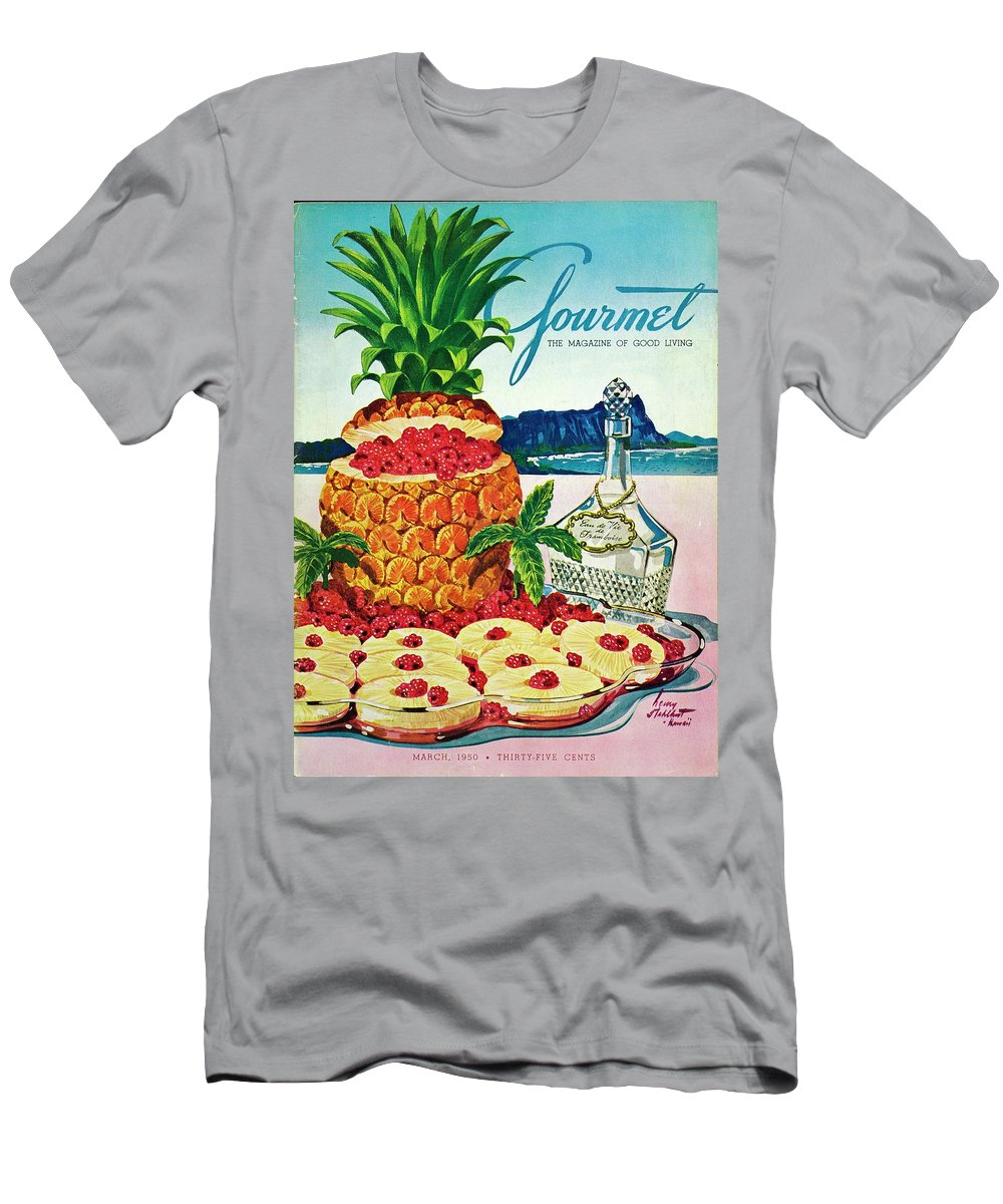 Food Men's T-Shirt (Athletic Fit) featuring the photograph A Hawaiian Scene With Pineapple Slices by Henry Stahlhut