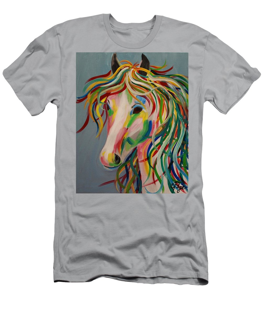 Horse Men's T-Shirt (Athletic Fit) featuring the painting A Horse Of A Different Color by Emily Page