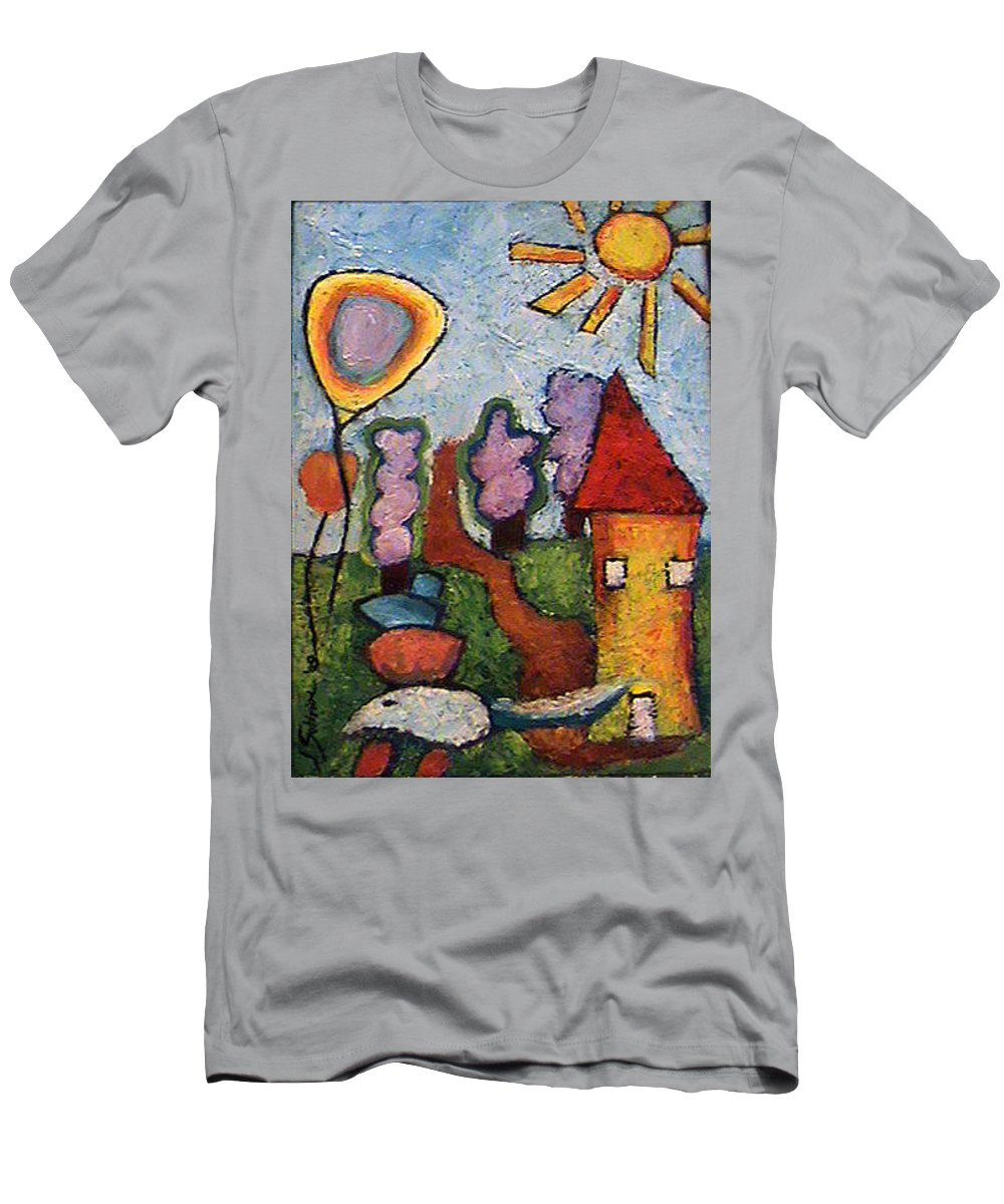 Landscape Men's T-Shirt (Athletic Fit) featuring the painting A House And A Mouse by Ioulia Sotiriou