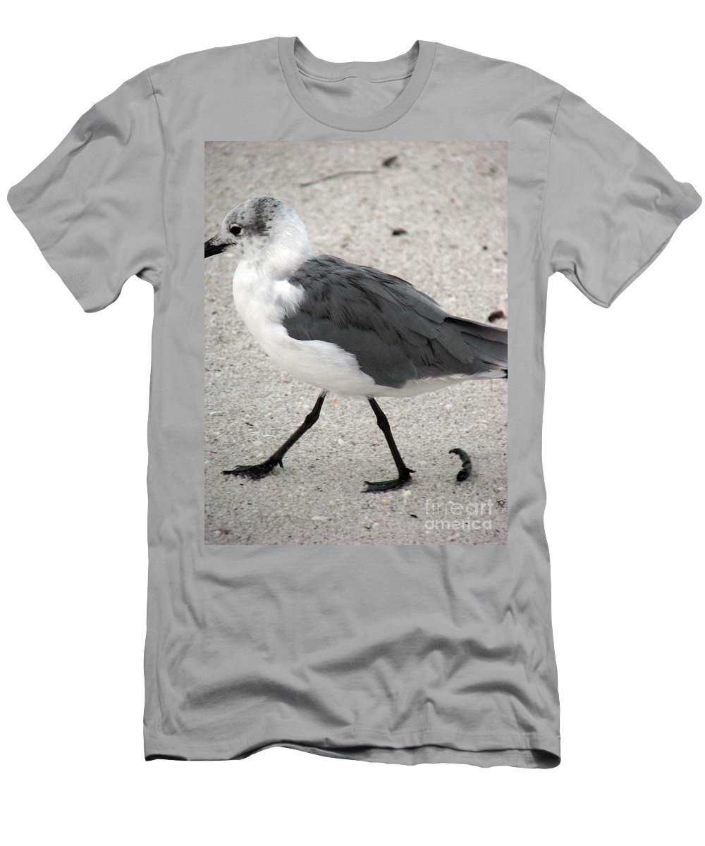 Seagulls Men's T-Shirt (Athletic Fit) featuring the photograph A Late Summer Walk by Amanda Barcon