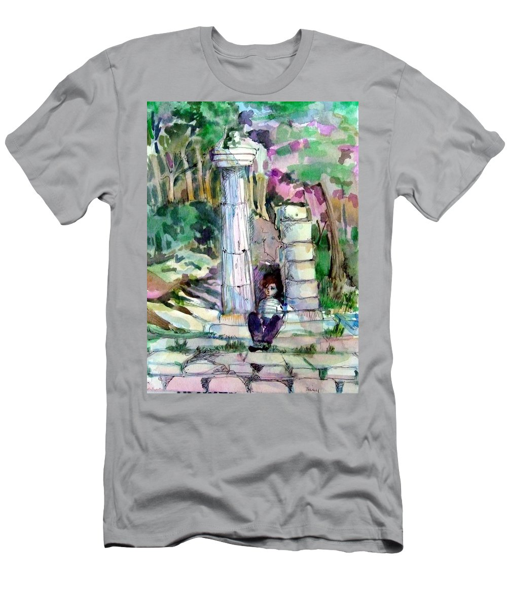 Watercolor Men's T-Shirt (Athletic Fit) featuring the painting A Man In Ruins by Mindy Newman