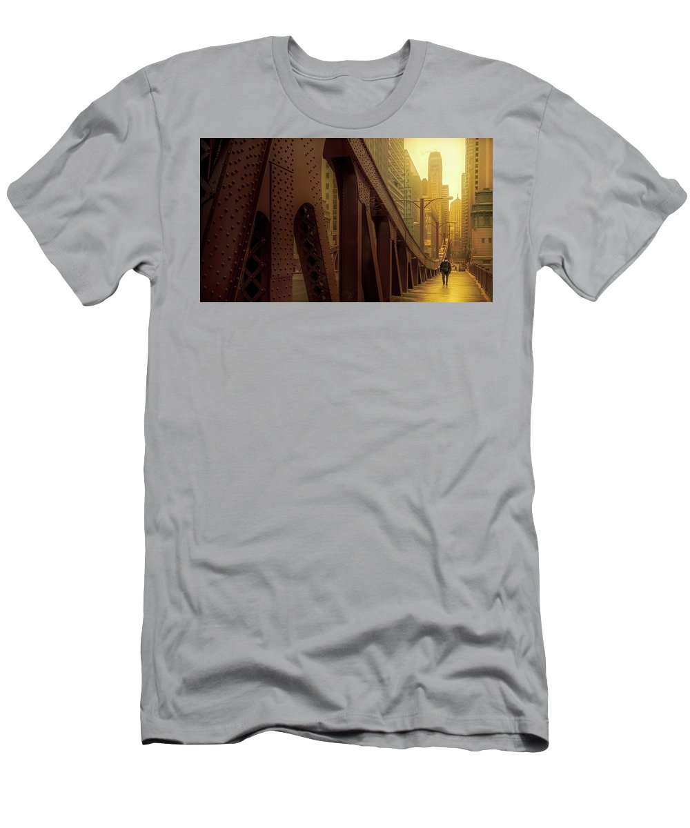 Alone Men's T-Shirt (Athletic Fit) featuring the photograph A Quiet Sunday Morning In Chicago by Yves Keroack