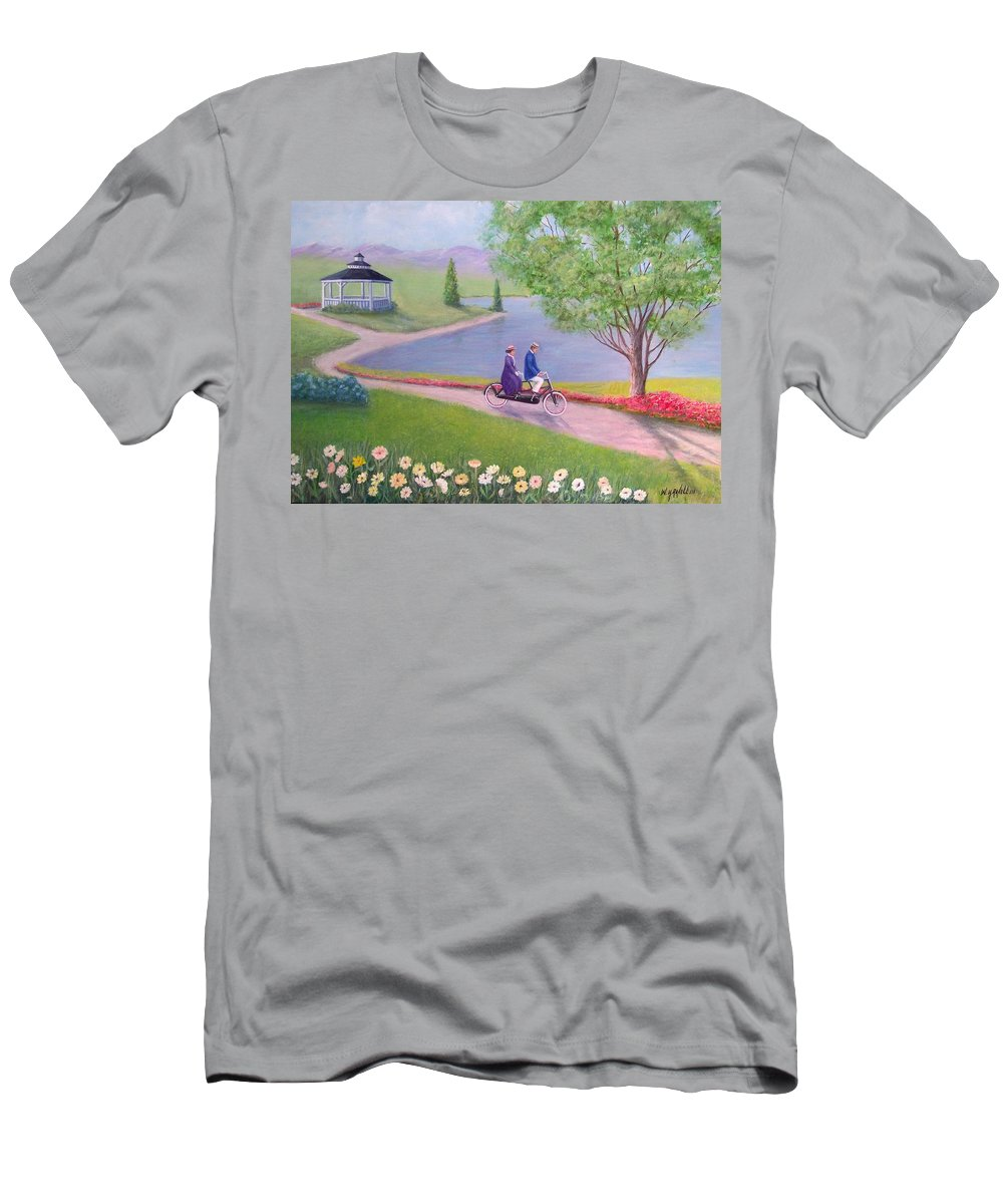 Landscape Men's T-Shirt (Athletic Fit) featuring the painting A Ride In The Park by William H RaVell III