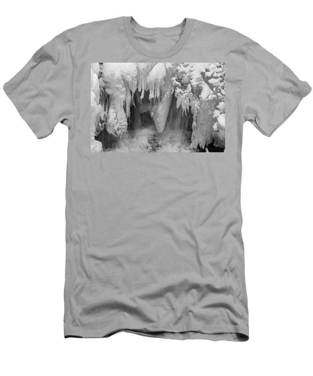 Abstract Men's T-Shirt (Athletic Fit) featuring the photograph A River Flows, B/w by Bruno Doddoli