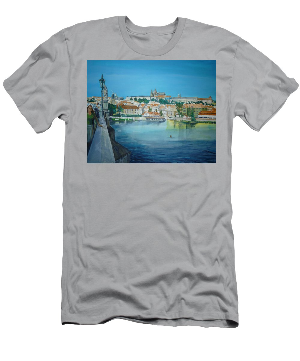 Prague Men's T-Shirt (Athletic Fit) featuring the painting A Scene In Prague 3 by Bryan Bustard