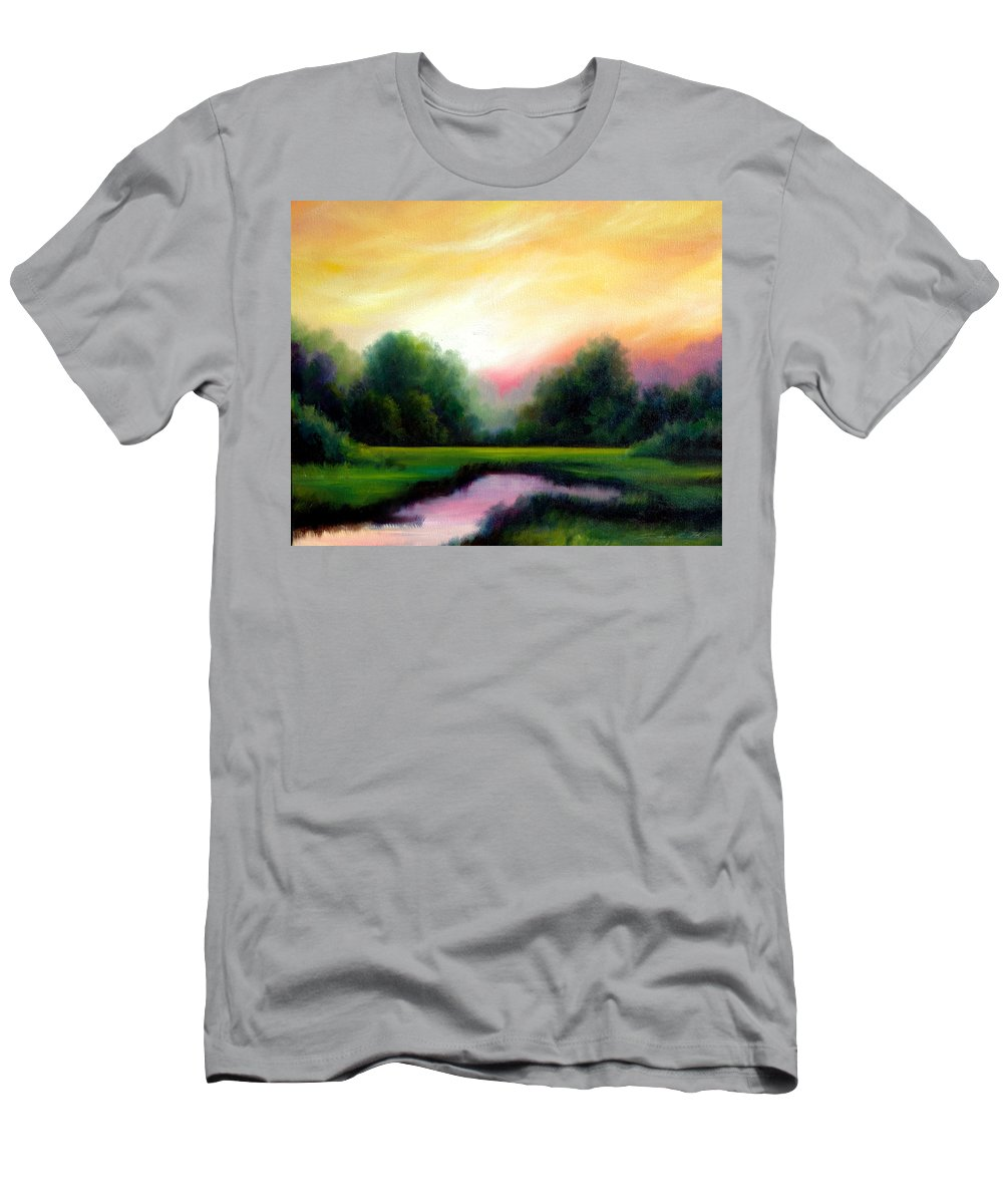 Clouds Men's T-Shirt (Athletic Fit) featuring the painting A Spring Evening by James Christopher Hill