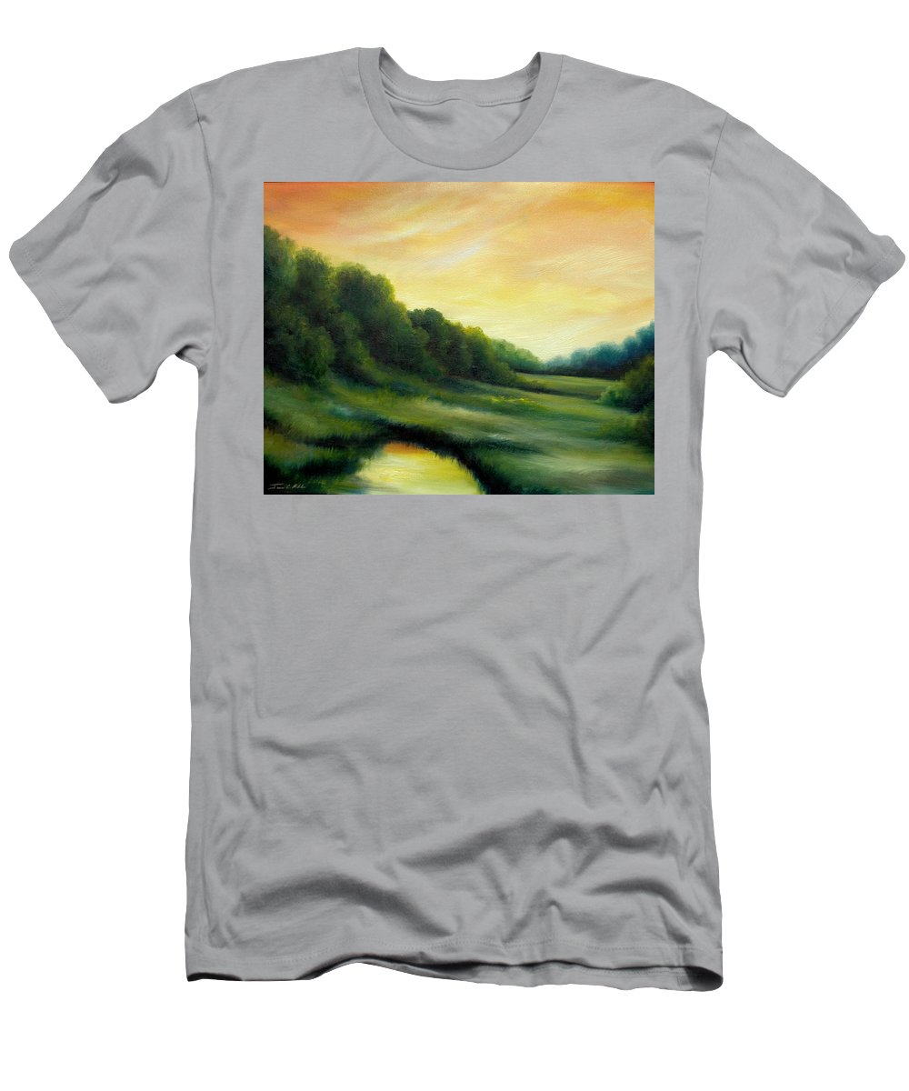 Clouds T-Shirt featuring the painting A Spring Evening Part Two by James Christopher Hill