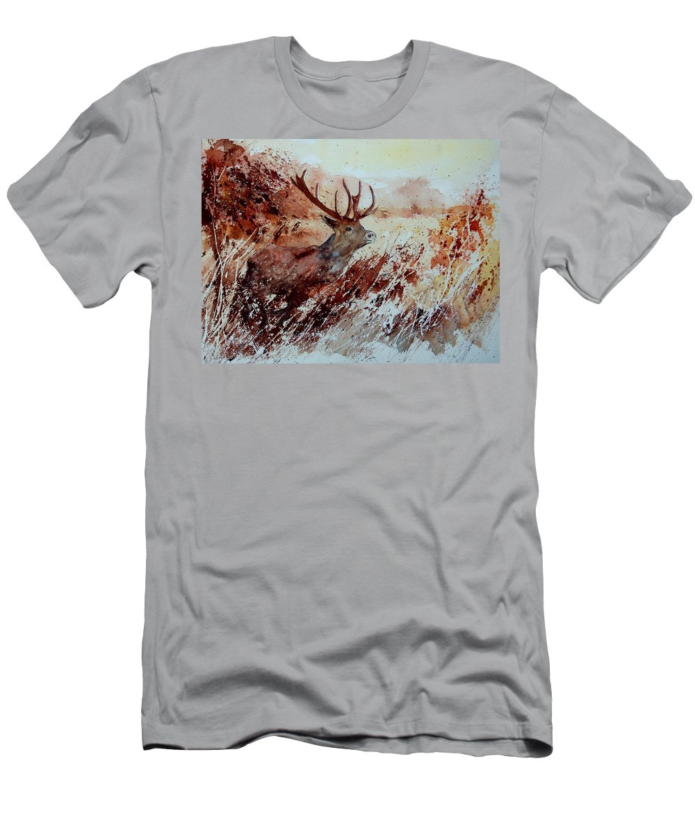 Animal Men's T-Shirt (Athletic Fit) featuring the painting A Stag by Pol Ledent