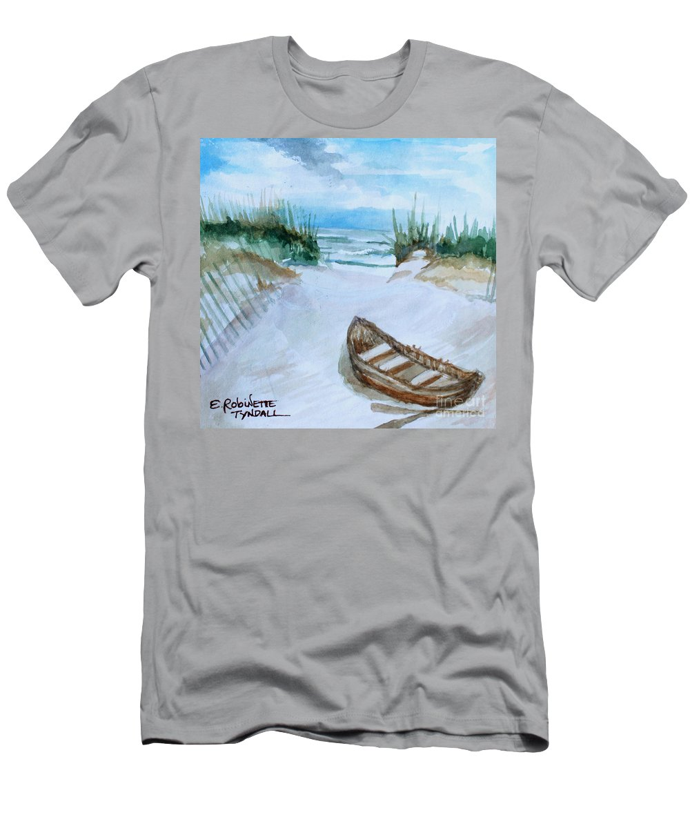 Landscape Men's T-Shirt (Athletic Fit) featuring the painting A Trip To The Beach by Elizabeth Robinette Tyndall