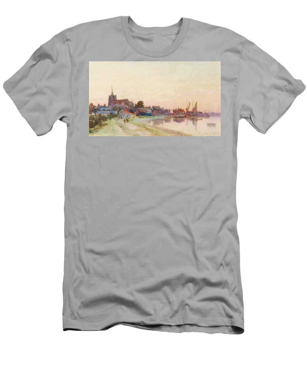Frederick George Cotman (1850-1920) A Twighlight Harbour Scene Men's T-Shirt (Athletic Fit) featuring the painting A Twighlight Harbour Scene by MotionAge Designs