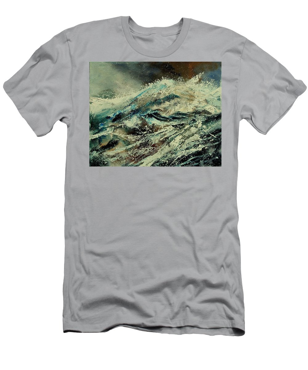 Sea Men's T-Shirt (Athletic Fit) featuring the painting A Wave by Pol Ledent