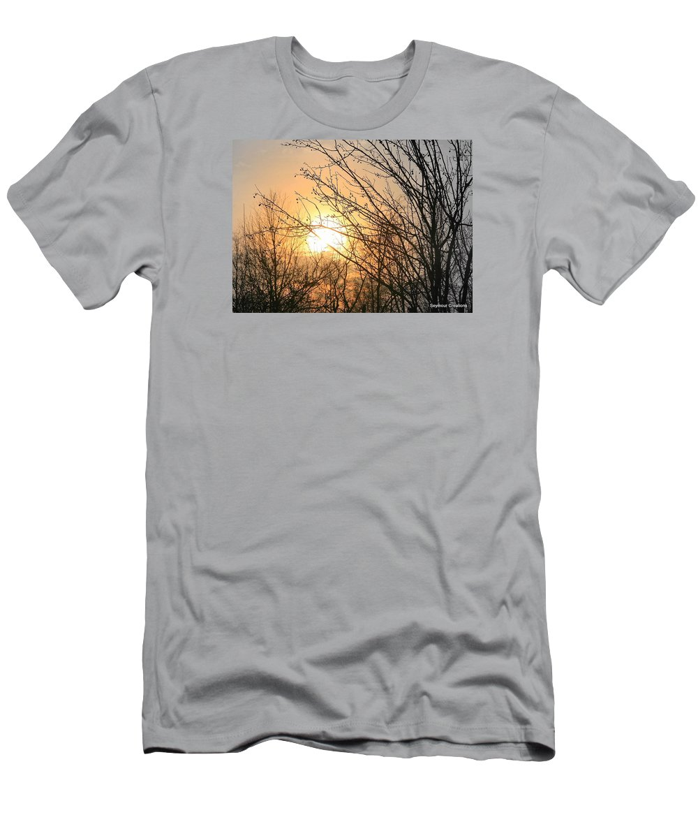 Sun Men's T-Shirt (Athletic Fit) featuring the photograph A Winter's Day After Glow by J R Seymour