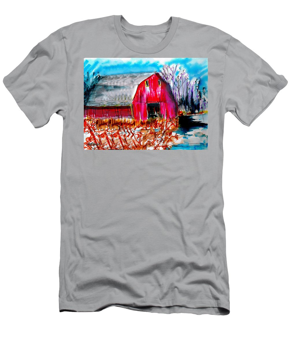 Abandoned Men's T-Shirt (Athletic Fit) featuring the painting Abandoned Barn by Seth Weaver