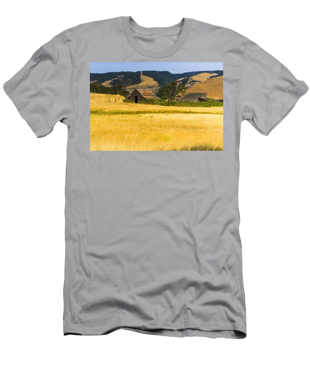 Agriculture Men's T-Shirt (Athletic Fit) featuring the photograph Abandoned Farm by John Trax