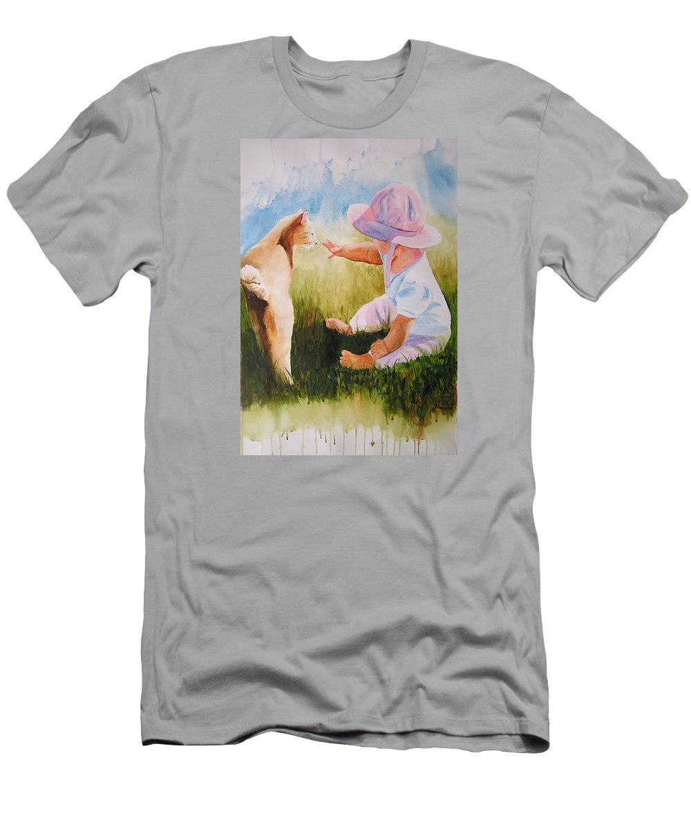 Baby Men's T-Shirt (Athletic Fit) featuring the painting Abbie's Kitty by Karen Stark