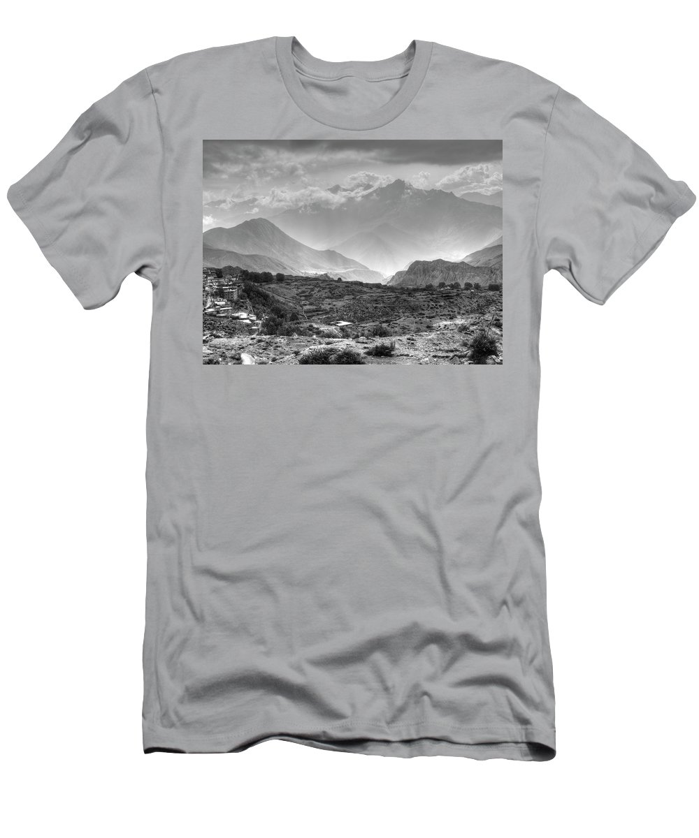 Muktinath Men's T-Shirt (Athletic Fit) featuring the photograph Above Muktinath, Nepal by Kirk Dearden
